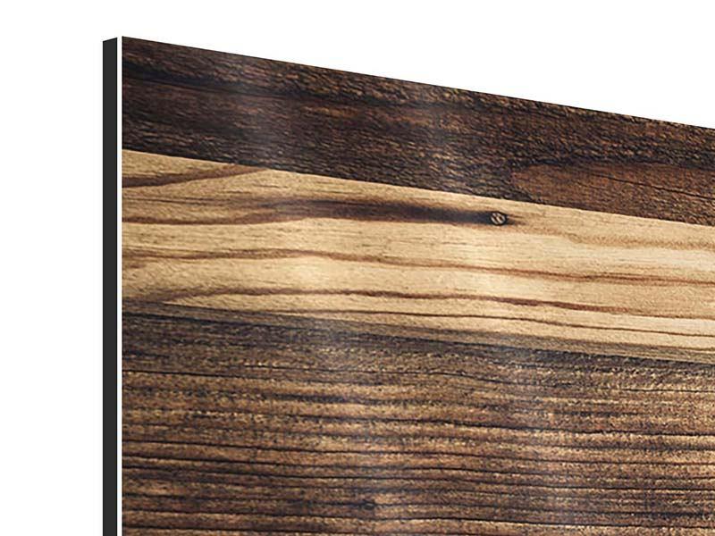 Aluminiumbild 3-teilig modern Holztrend