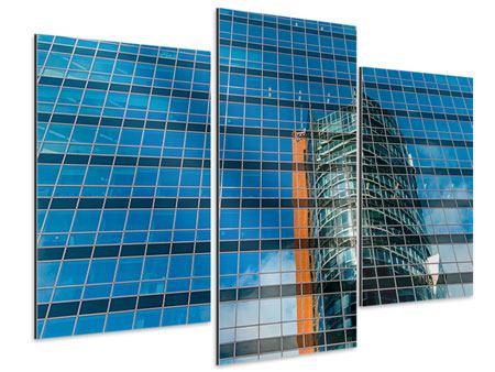 Aluminiumbild 3-teilig modern Wolkenkratzer-Spiegel