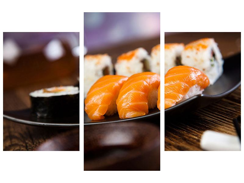 Aluminiumbild 3-teilig modern Sushi-Gericht