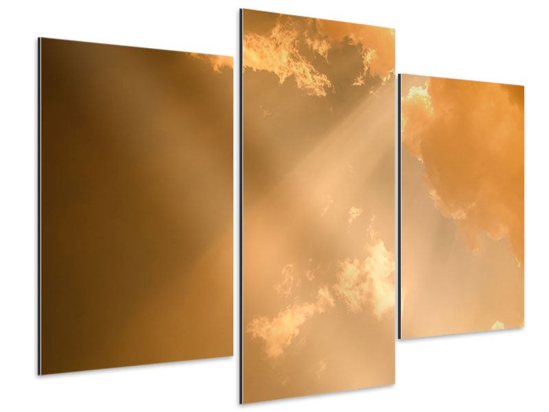 Aluminiumbild 3-teilig modern Abendhimmel