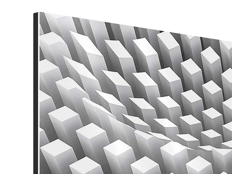 Aluminiumbild 3-teilig modern 3D-Rasterdesign