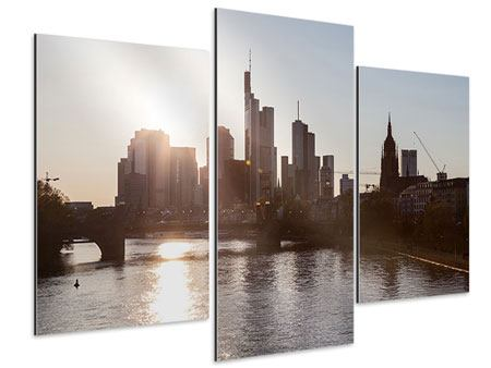 Aluminiumbild 3-teilig modern Skyline Sonnenaufgang bei Frankfurt am Main