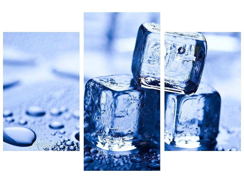 Aluminiumbild 3-teilig modern Eiswürfel