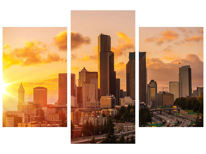 Aluminiumbild 3-teilig modern Skyline Washington