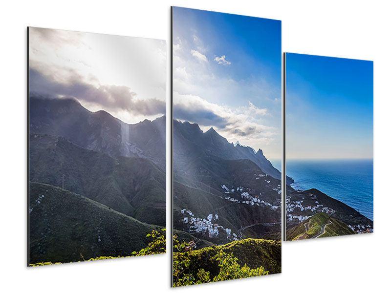 Aluminiumbild 3-teilig modern Der Frühling in den Bergen