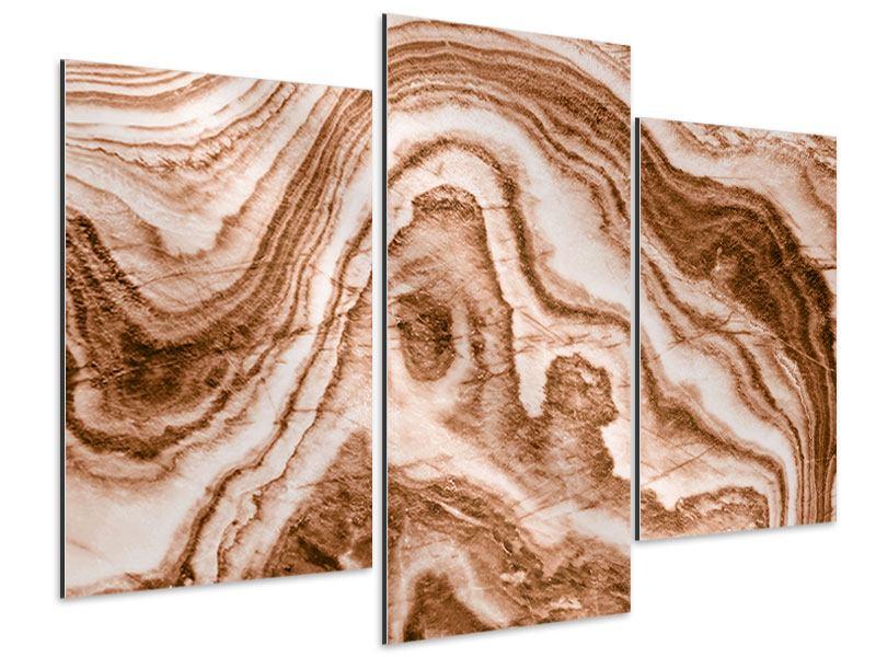 Aluminiumbild 3-teilig modern Marmor in Sepia