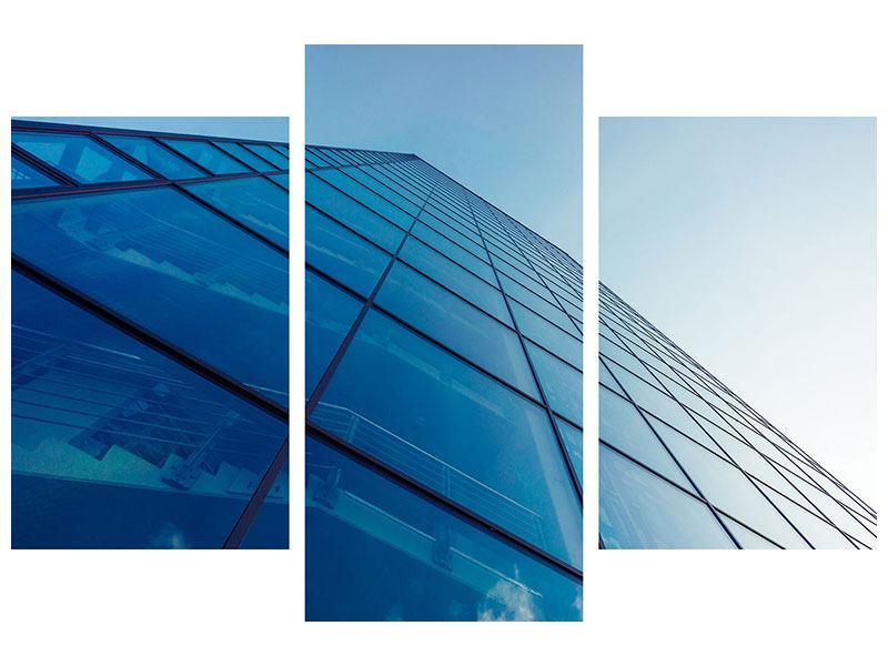 Aluminiumbild 3-teilig modern Wolkenkratzer-Highlight