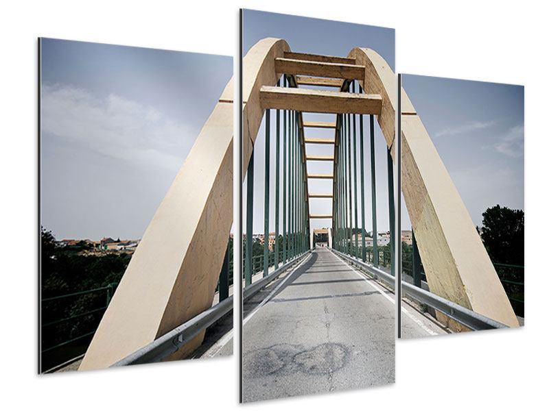 Aluminiumbild 3-teilig modern Imposante Hängebrücke
