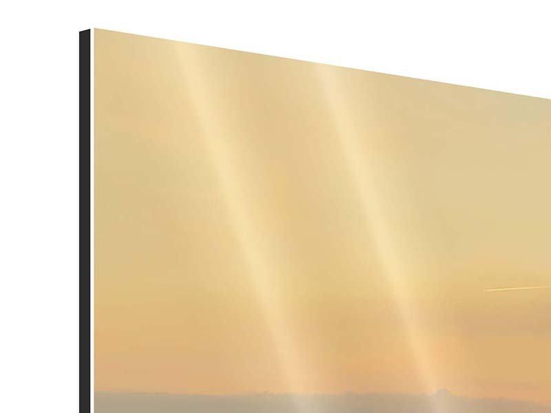 Aluminiumbild 3-teilig modern Skyline Köln bei Sonnenuntergang