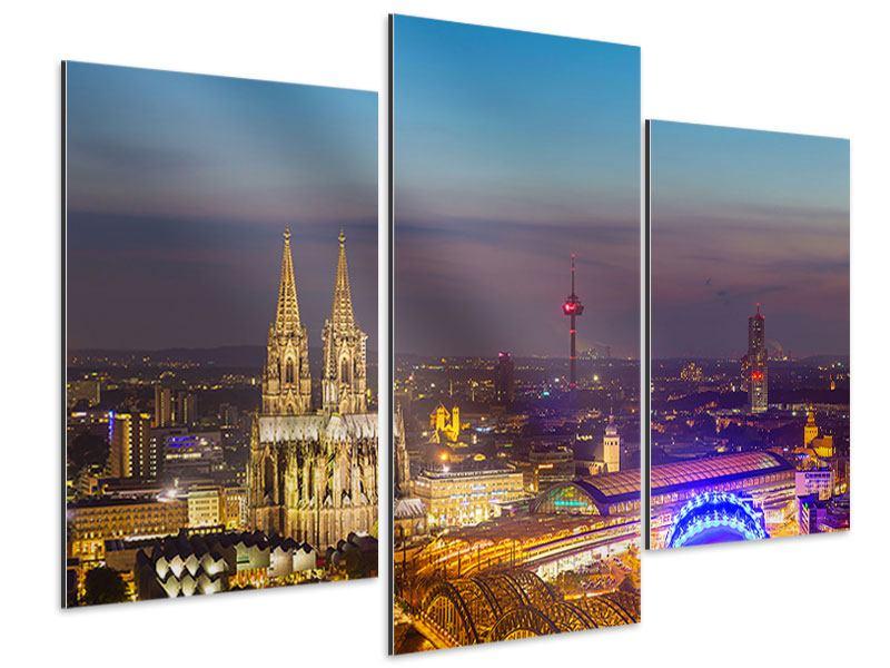Aluminiumbild 3-teilig modern Skyline Kölner Dom bei Nacht
