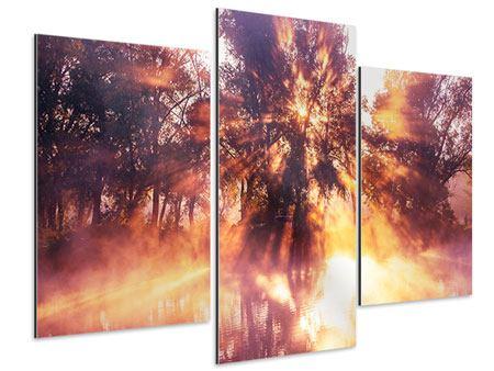 Aluminiumbild 3-teilig modern Die Waldspiegelung