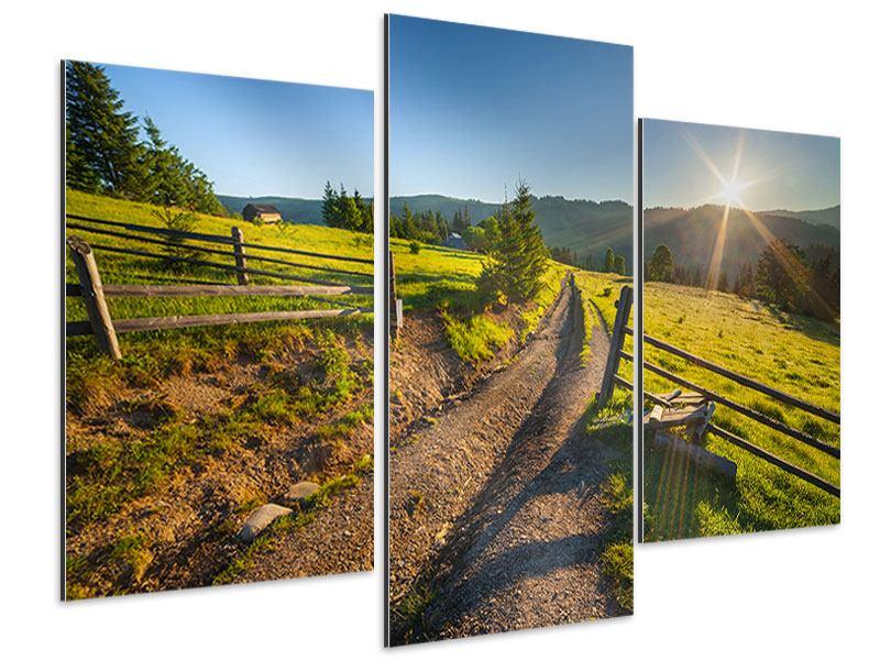 Aluminiumbild 3-teilig modern Sonnenaufgang am Berg