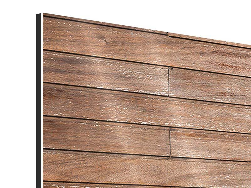 Aluminiumbild 3-teilig modern Walnuss-Paneele
