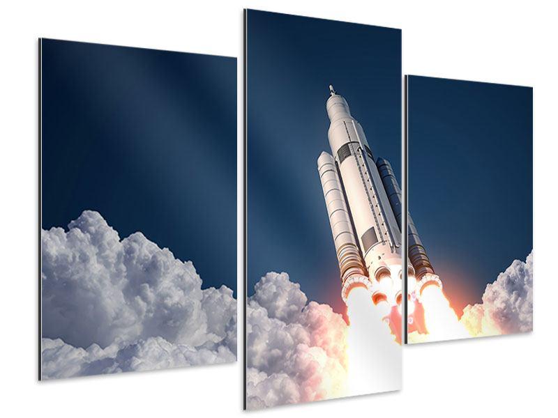 Aluminiumbild 3-teilig modern Raketenstart