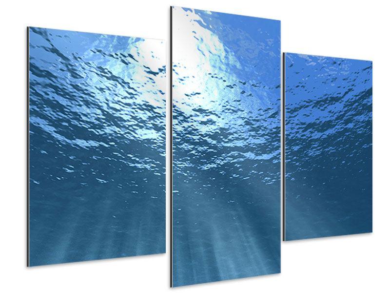 Aluminiumbild 3-teilig modern Sonnenstrahlen unter Wasser