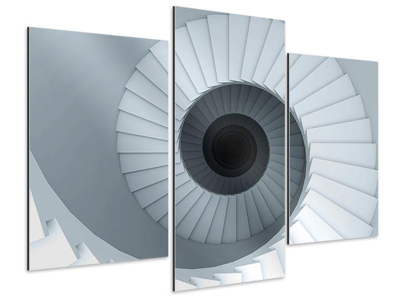 Aluminiumbild 3-teilig modern 3D Wendeltreppe