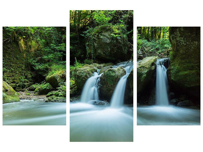 Aluminiumbild 3-teilig modern Fallendes Wasser