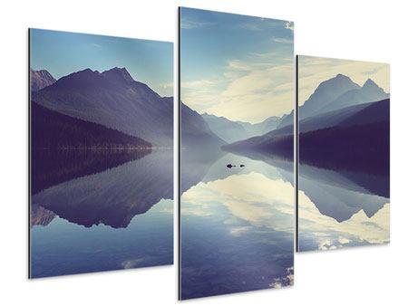 Aluminiumbild 3-teilig modern Bergspiegelung