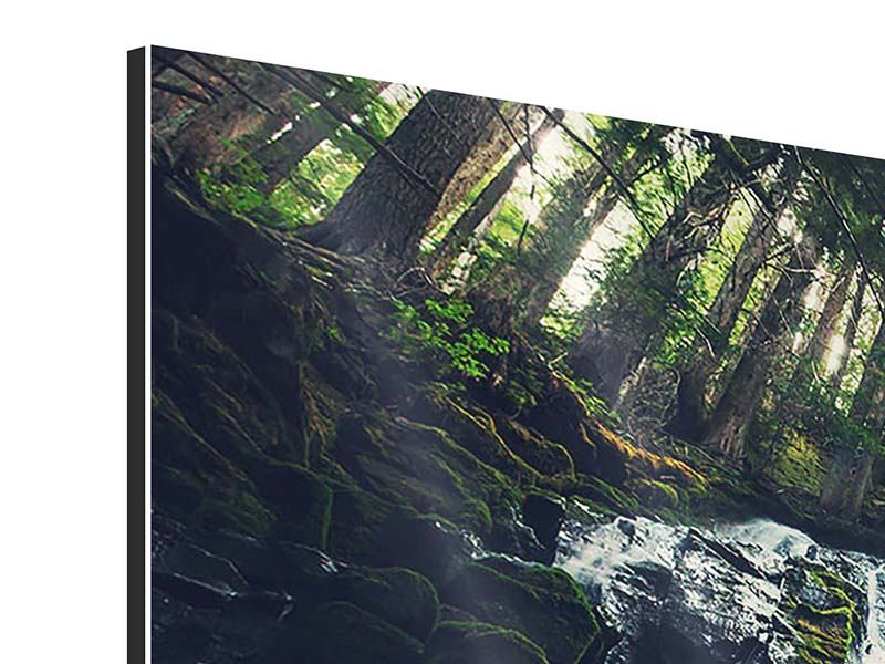 Aluminiumbild 3-teilig modern Feng Shui & Wasserfall