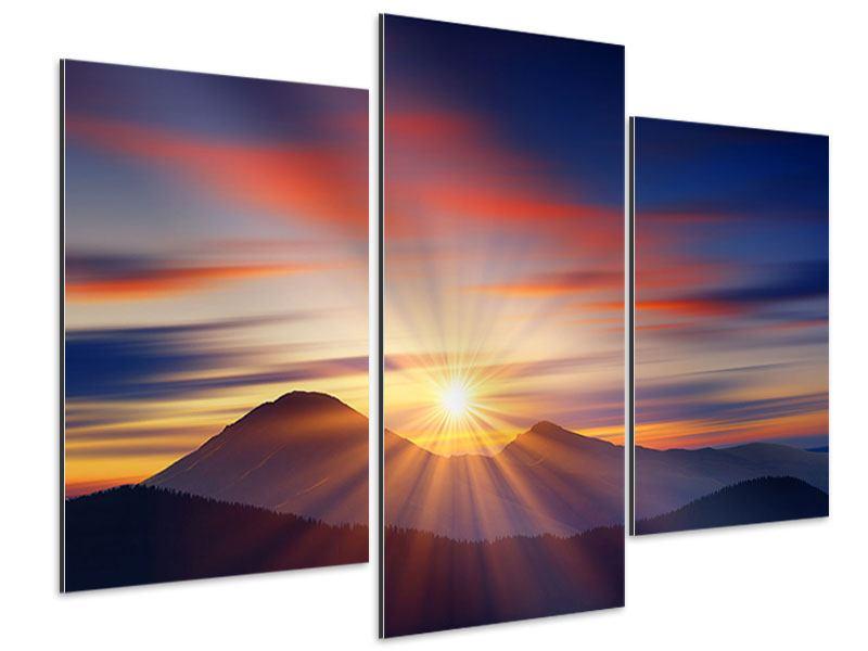 Aluminiumbild 3-teilig modern Märchenhafte Landschaft
