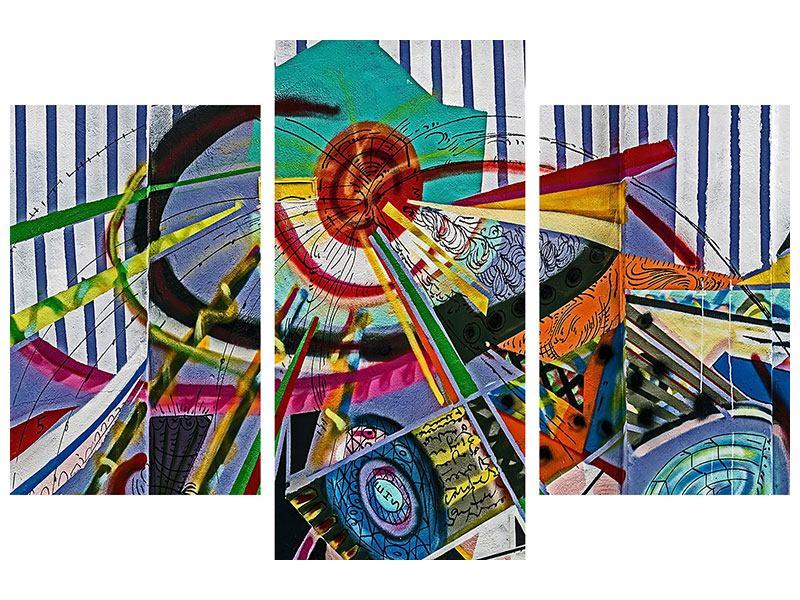 Aluminiumbild 3-teilig modern Künstlerisches Graffiti