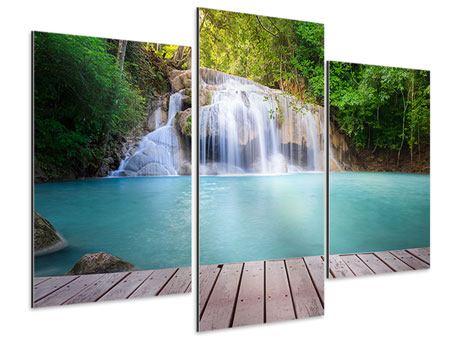 Aluminiumbild 3-teilig modern Terrasse am Wasserfall
