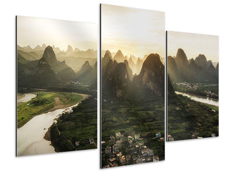 Aluminiumbild 3-teilig modern Die Berge von Xingping