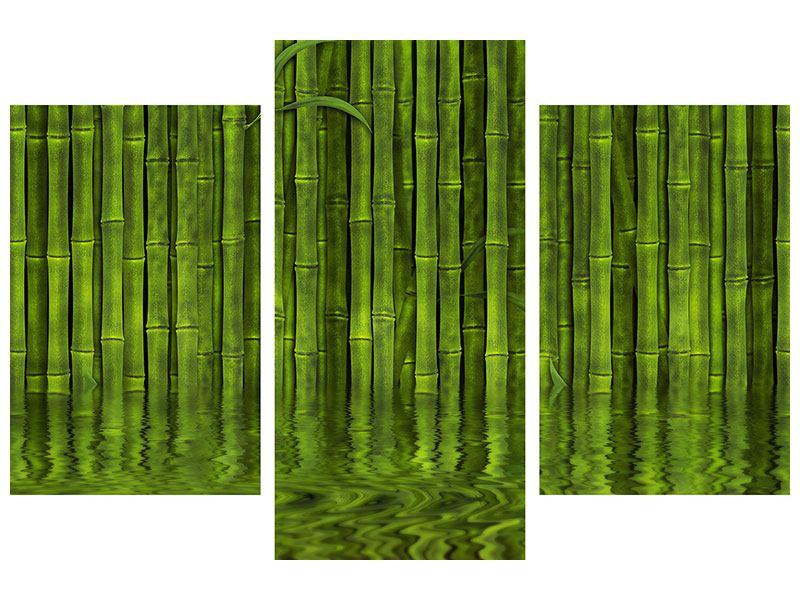 Aluminiumbild 3-teilig modern Wasserspiegelung Bambus