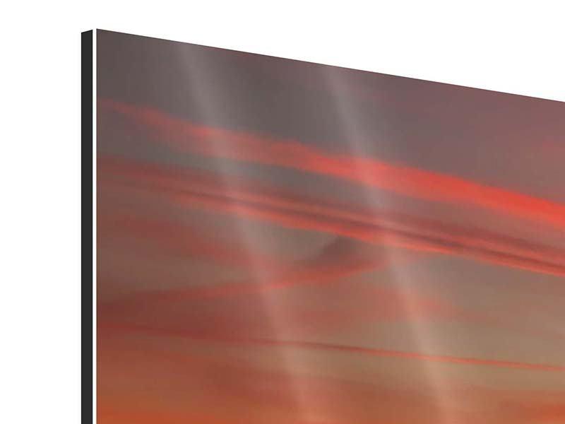 Aluminiumbild 3-teilig modern Der Sonnenuntergang