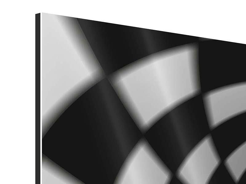 Aluminiumbild 3-teilig modern Abstrakter Tunnel Black & White
