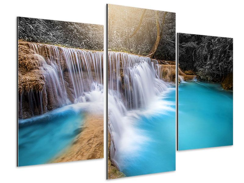 Aluminiumbild 3-teilig modern Glücklicher Wasserfall