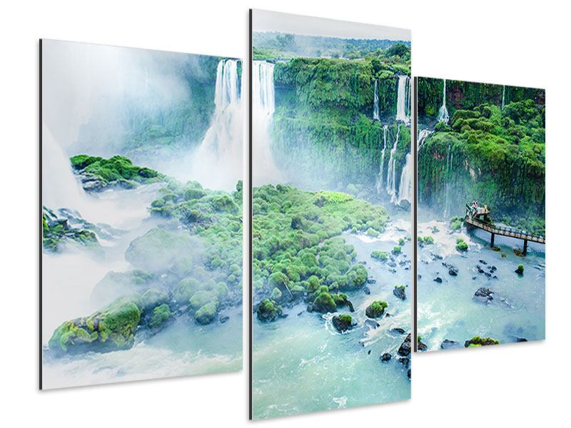Aluminiumbild 3-teilig modern Wasserfälle