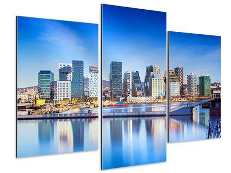 Aluminiumbild 3-teilig modern Skyline Oslo