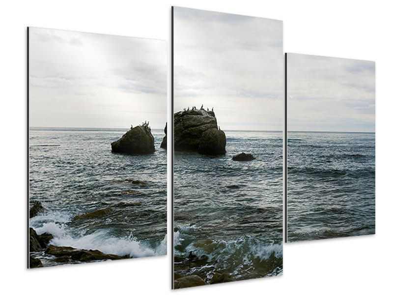 Aluminiumbild 3-teilig modern Leise Wellen