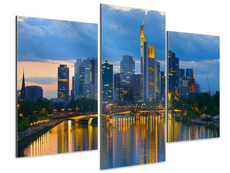 Aluminiumbild 3-teilig modern Skyline Frankfurt am Main