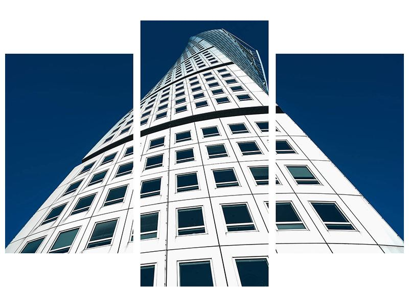 Aluminiumbild 3-teilig modern Meisterstück Wolkenkratzer