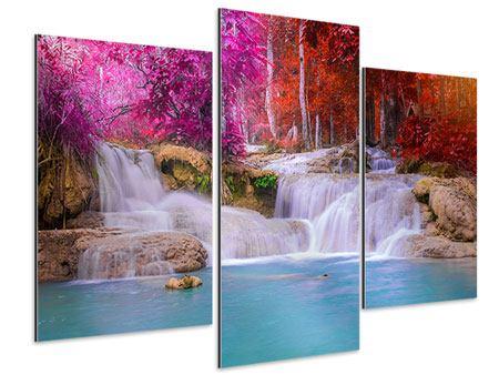 Aluminiumbild 3-teilig modern Paradiesischer Wasserfall