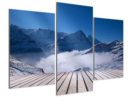 Aluminiumbild 3-teilig modern Sonnenterrasse in den Schweizer Alpen