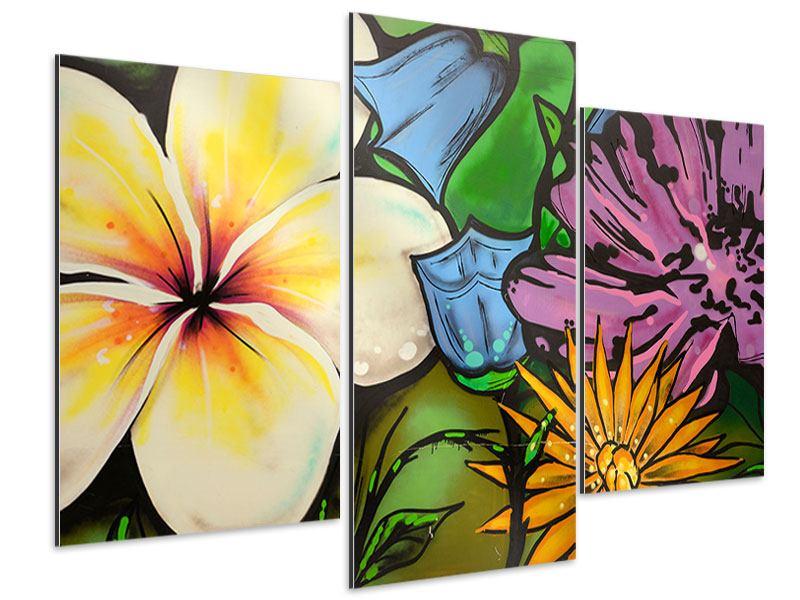 Aluminiumbild 3-teilig modern Graffiti Flowers