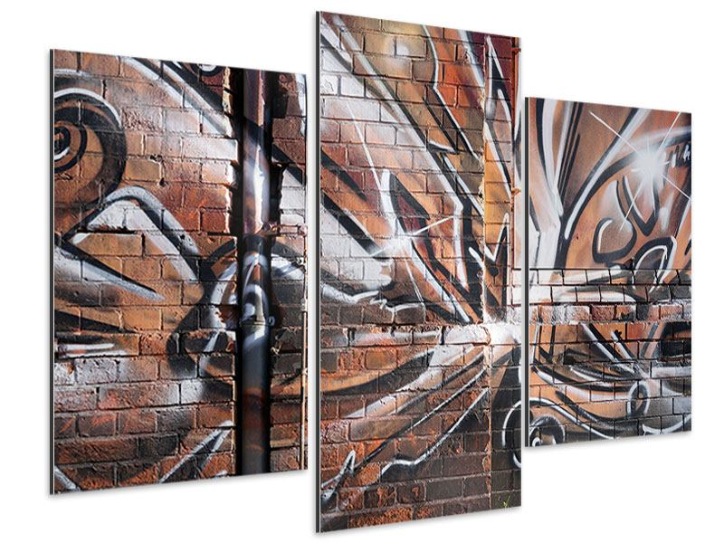 Aluminiumbild 3-teilig modern Graffiti Mauer