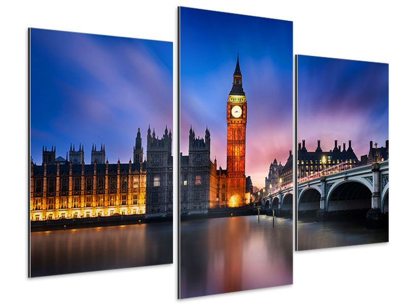 Aluminiumbild 3-teilig modern Nachts am Big Ben