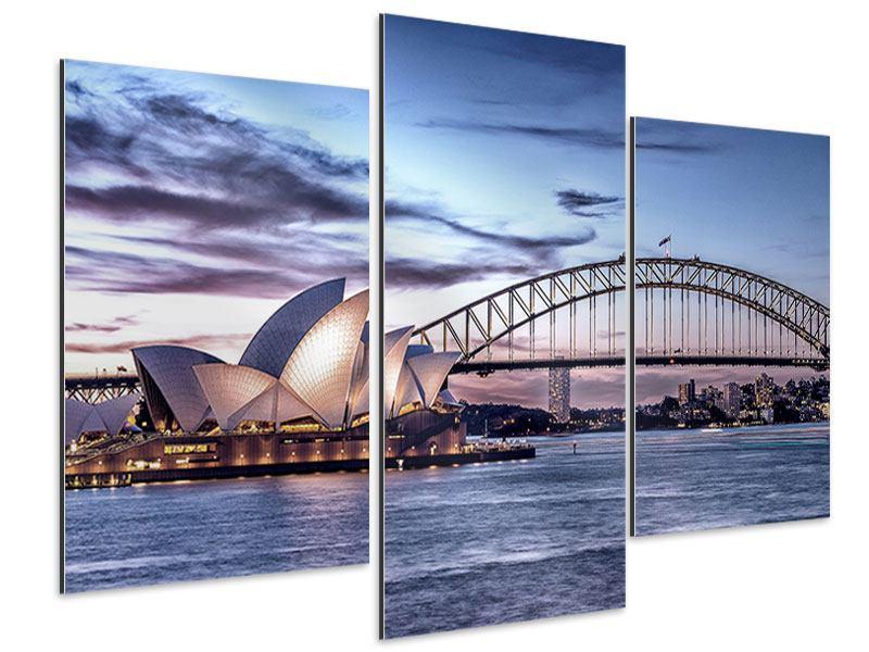 Aluminiumbild 3-teilig modern Skyline Sydney Opera House