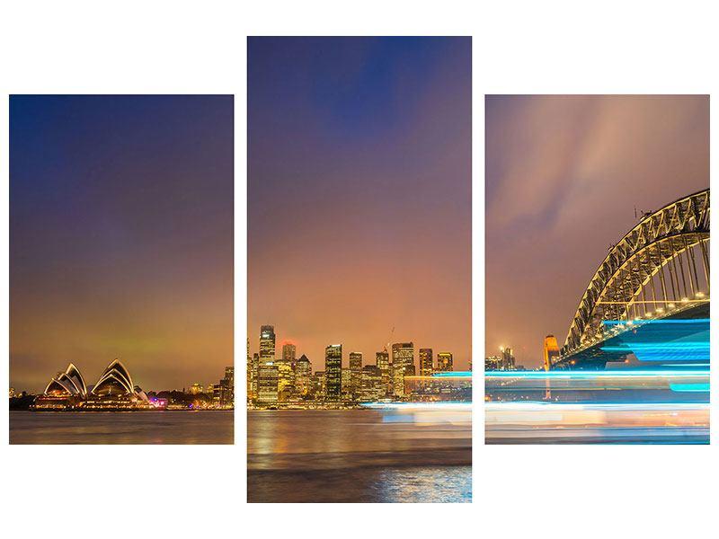 Aluminiumbild 3-teilig modern Skyline Opera House in Sydney im Abendlicht