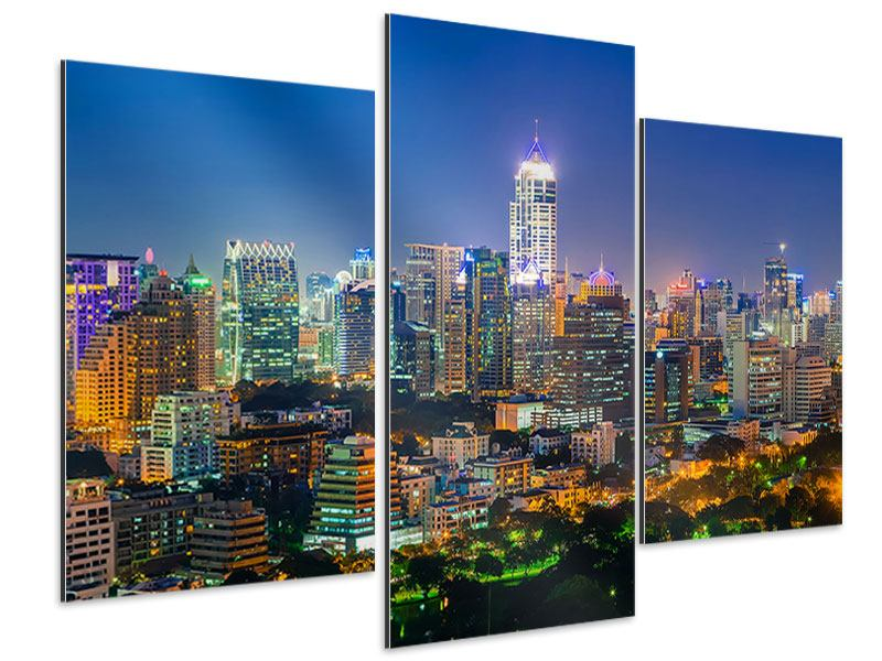 Aluminiumbild 3-teilig modern Skyline One Night in Bangkok