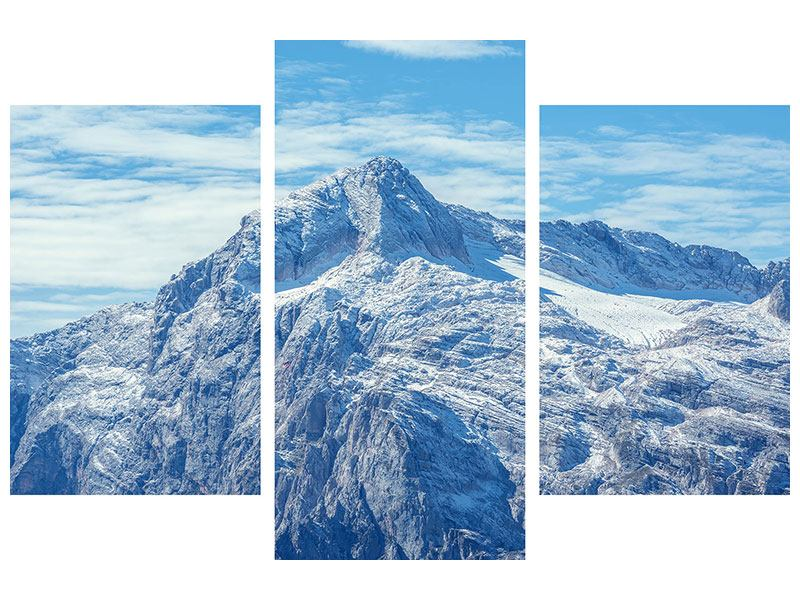 Aluminiumbild 3-teilig modern Friedliche Bergstimmung