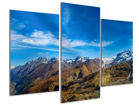 Aluminiumbild 3-teilig modern Schweizer Alpen im Frühling