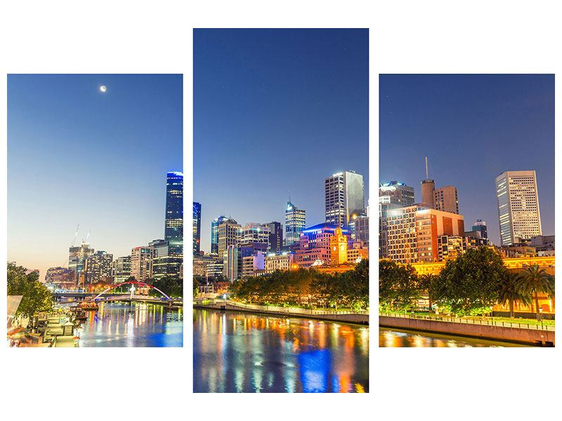 Aluminiumbild 3-teilig modern Skyline Sydney in der Abenddämmerung