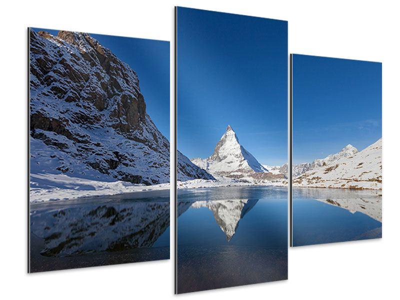 Aluminiumbild 3-teilig modern Der Riffelsee am Matterhorn