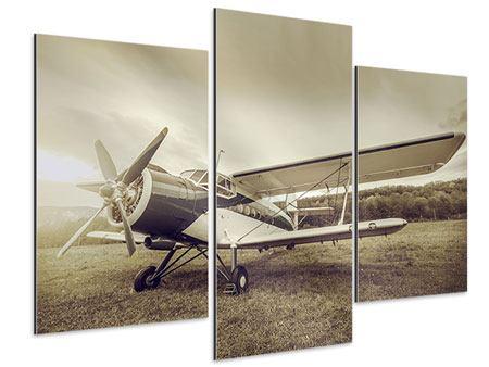 Aluminiumbild 3-teilig modern Nostalgisches Flugzeug im Retrostyle