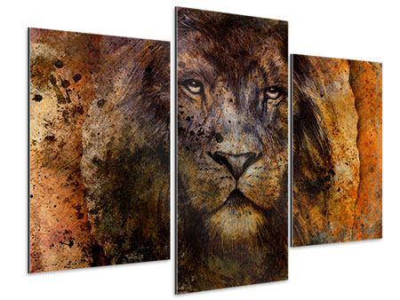 Aluminiumbild 3-teilig modern Portrait eines Löwen